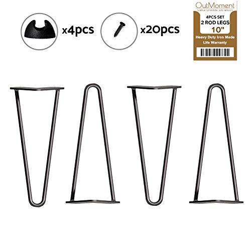 Outmoment Haarnadel Tischbeine, 4x Mitte des Jahrhunderts Modern Stil DIY 2 Stangen Möbelbein mit Bodenschoner & Schrauben für Couchtisch Esstisch Schreibtisch, Schwarz 10\'\' / 25cm