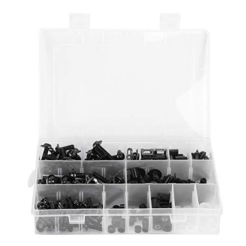 Accesorios de moto, 223 piezas de pernos de carenado de motocicleta, tornillos de parabrisas, tuercas, accesorios de carrocería de motocicleta(Negro)