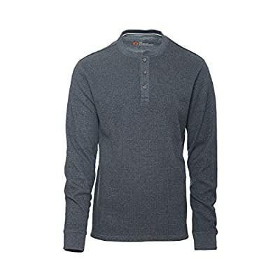 American Outdoorsman Mens Long Sleeve Waffle Henley Shirt The Thermal Pullover Shirt for Hiking and Camping Black Heather
