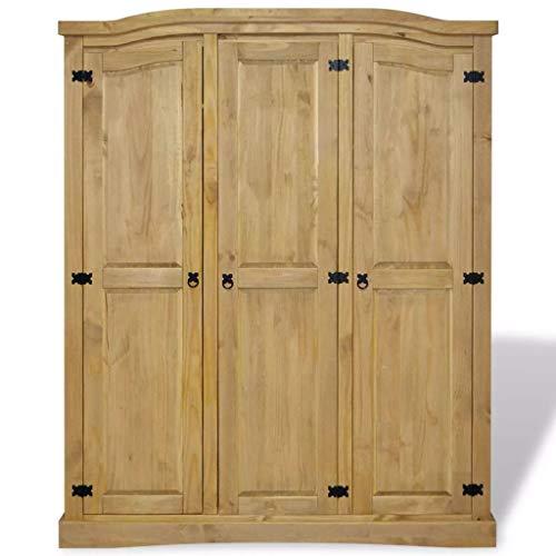 yorten Garderobenschrank Dielenschrank Kleiderschrank mit 3 Türen, im Mexiko-Stil, aus Kiefernholz, 151,6 x 52 x 170 cm (Braun)