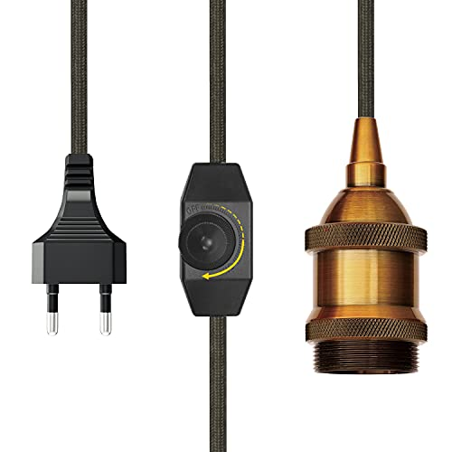 Portalámparas E27 con interruptor ajustable – Casquillo dorado con 4,5 metros de cable de tela negro – Lámpara colgante kit con cable de lámpara y enchufe para lámpara colgante, lámpara de pie, PEBA