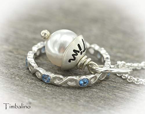 Silber Infiniti Ring mit Gravur, Namensperle, Unendlichkeitsring mit Namen