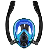 Chriffer Máscara de Buceo, 2019 Novísimo Máscara Snorkel Facial Completa 180 Vista Fácil respiración con Anti-Vaho y la Anti-Fugas Plegable Natación Bucear Máscara para Adultos y Niños