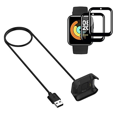 Young & Ming Cargador Compatible con Xiaomi Mi Watch Lite Cargador + 2 Unidades Protector De Pantalla, Cable de Carga de Repuesto Base de Carga USB Cargador(Negro 3,3ft 100cm)