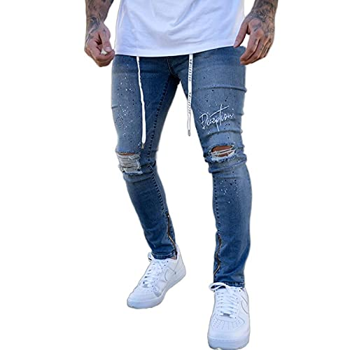 WQZYY&ASDCD Jeans Vaqueros Pantalon Letras Bordadas para Hombre Stretch Ripped Biker Jeans Hombres Hip Hop...