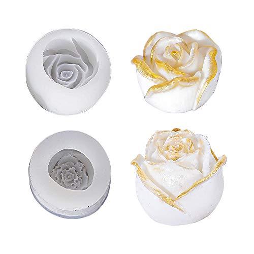 Gobesty Harz Form Rose, 2er Set Epoxidharz Formen Silikon Rose, Silikonform Rose 3D, Silikon Form Rose Blume für Rosen Blütenblatt Handgefertigt