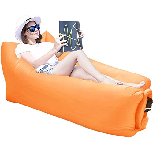 Jemyda Inflatable Lounger Air Sofa, Best Inflatable Couch for Traveling Lakeside Camping Picnics, Music Festivals, Blow Up Pouch Couch and Air Chair Foldable Air Hammock Orange