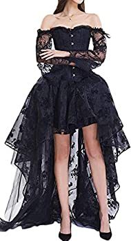Pandolah Halloween Sexy Lingerie Fashion Lace up Vintage Gothic Victorian Corset Bustier Prom Skirt  Black US Size 10-12  2XL