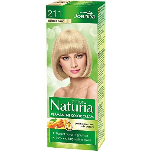 Naturia Permanent Haarfärbe-Creme - All das Gute aus Milchproteinen & Pfirsichextrakt - Haarfarbe in Premium-Qualität - Farbcreme Natur-Haarfarbe - Lange Haltende Haarfarbe – Farbton Golden Sand