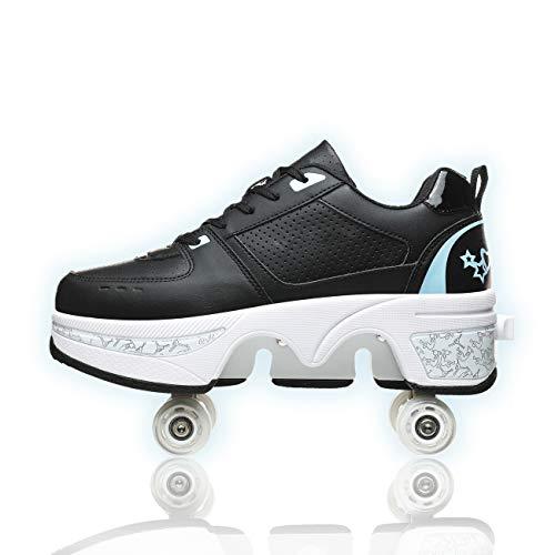 YXRPK Ruedas Retráctiles Patines para Adultos Patines Ajustables Deformación Zapatos con Ruedas para Niños, Calzado Deportivo Al Aire Libre
