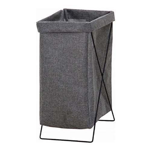 不二貿易 ランドリーバスケット 洗濯かご 幅24cm グレー 縦型 折りたたみ 内側撥水加工 31510