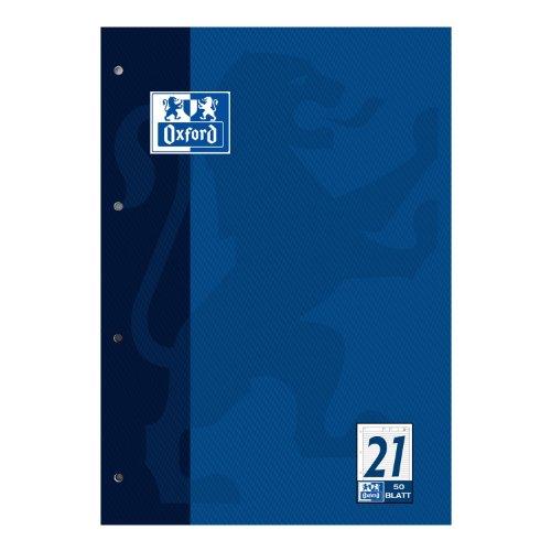 OXFORD 100050343 Arbeitsblätterblock Schule 5er Pack A4 Lineatur 21 - liniert 4-fach gelocht dunkelblau Aufgabenblock Schulblock Kieserblock