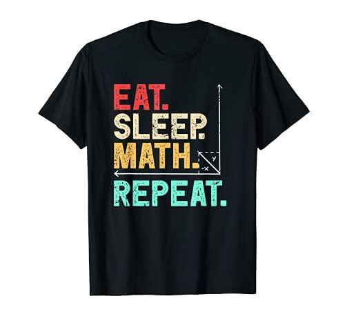 Mangia sonno Matematica Ripeti Matematica Retrò Maglietta