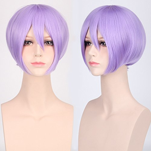 GOOACTION Male Anime Short Stright Bob Light Purple Wig with Bangs for Unisex Cosplay Costume and Daily Synthetic Hair Wigs