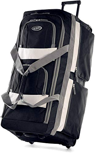 Olympia 8 Pocket Rolling Duffel Bag, Black, 22 inch