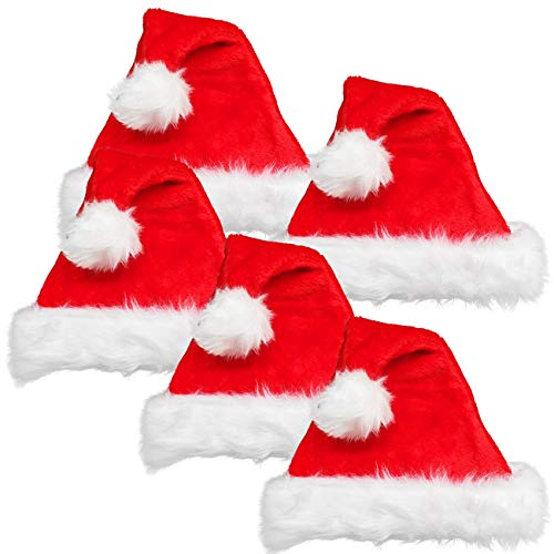 Ciffre Weihnachtsmütze Nikolaussmütze Mütze Weihnachten Nikolaussmütze Santa Christmas Nikolaus Dick Plüsch 5 er Set