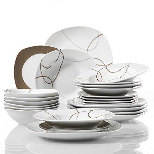 VEWEET Nikita Juegos de Vajillas 24 Piezas de Porcelana con 6 Cuencos de Cereales, 6 Platos, 6 Platos de Postre y 6 Platos Hondos para 6 Personas