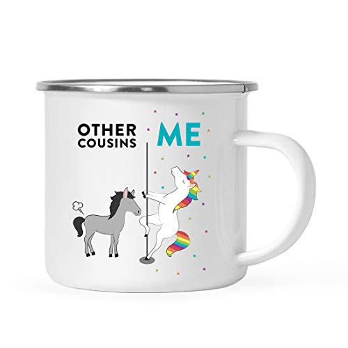 Andaz Press Funny Quirky 11oz. Stainless Steel Campfire Coffee Tea Mug Thank You Gift, Other Cousins Me, Horse Unicorn, 1-Pack, Birthday Christmas Gift Ideas Coworker, Gift Box