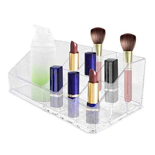 No-Branded Lmbqye Clear Acrylic Cosmetic Organizer, Lippenstifthalter, Makeup Organizer Display Tisch Aufbewahrungstablett Ständer für Make Up Lippenstift Nagellack Pinsel Sets Schmuck