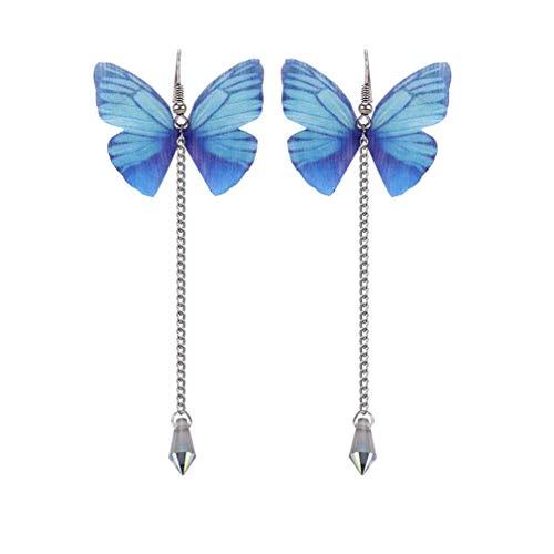 Yinew Schmetterling Simulierte Perle Tropfen Ohrringe Dame Mädchen Quaste Kawaii Langer Tüll Mode Elegante Anhänger Kristallohrringe,Blau,Size