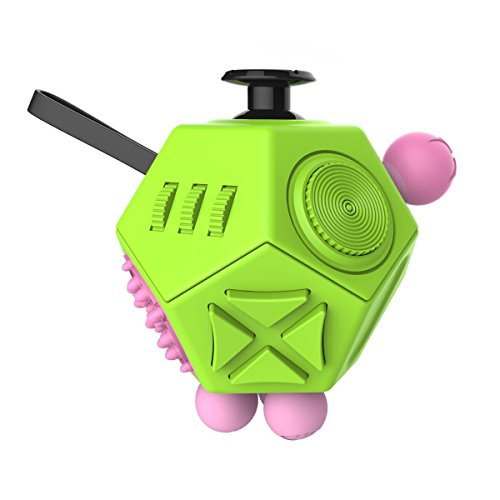 12 Sides Squeeze Fun Stress Reliever Gifts Fidget Magic Cube Relieves Anxiety and Stress Strange Creative Toy for Adults Children Decompression Dice - Green