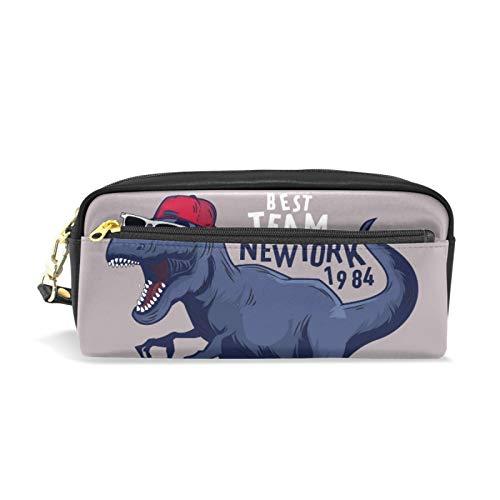 Cremallera grande maquillaje cosmético bolígrafo lápiz papelería bolsa de almacenamiento estuche lindo jugador de baloncesto dinosaurio animal