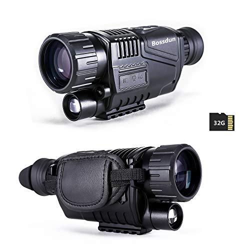 Monoculaire de Vision Nocturne,8X40 HD avec Ecran LCD TFT de 1,5'Fonction de Lecture de Photos et de Vidéos Carte TF 32G Lunettes de Vision Nocturne Numérique pour la Chasse Surveilla de Sécurité