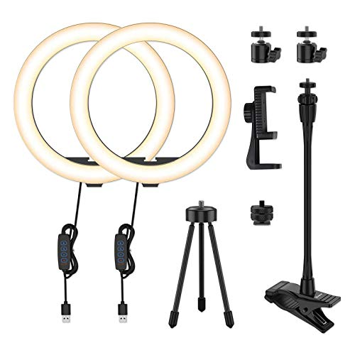 2 piezas - Smatree 10' Luces de anillo doble, luz de anillo LED regulable para selfies con soporte para trípode y soporte para teléfono, anillo de luz LED doble para Tiktok Vlog Youtube Video Makeup