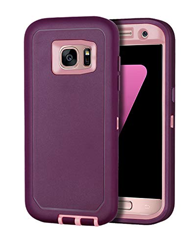 I-HONVA for Galaxy S7 Edge Case Shockproof Dust/Drop Proof 3-Layer Full Body Protection [Without Screen Protector] Rugged Heavy Duty Durable Cover Case for Samsung Galaxy S7 Edge, Purple/Pink