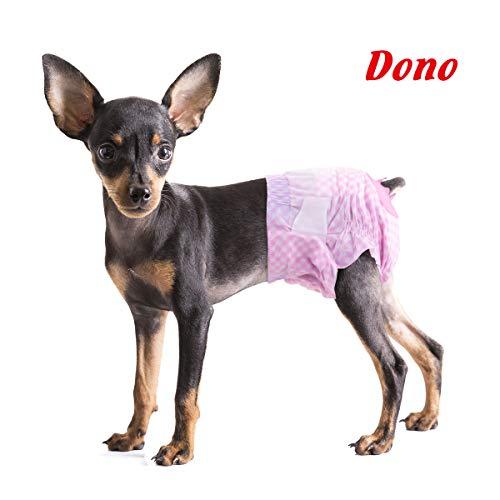 Dono Dog Nappies Female - Einweg-Windeln für weibliche Hunde, Superabsorbierende Hündchenwindeln für Hunde und Katzen, Harninkontinenz mit verstellbarem Schwanzloch, Pink (XS-12Count)