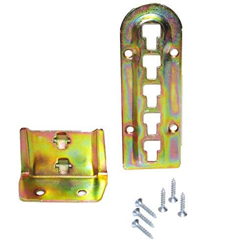 4er Set SO-TECH® Bettverbinder Bettbeschlag Einhängebeschlag höhenverstellbar für Mittelbalken- und Lattenrostauflage Stahl gelb chromatiert Höhe: 140 mm