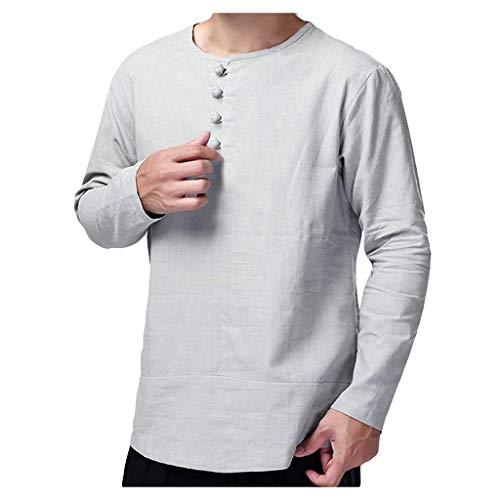 Luckycat Herren Baumwolle Hemd Hemd Langarm Sommer T-Shirt Stehkragen Baumwolle Männer Freizeithemd Slim Fit Kurzarmhemd Jungen Basic Shirt Langarmshirt Freizeit Sweater Sommerhemd