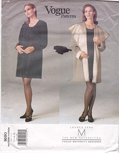 Maternity Dress and Reversible Coat Misses' Size 12 14 16 Vogue Sewing Pattern 1690 by Lauren Sara