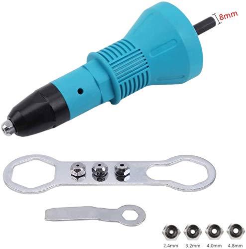 4EVERHOPE Pistolet à riveter sans fil, outil de perceuse électrique (bleu, 8mm)