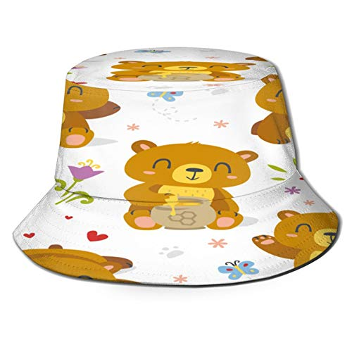 MAYUES Unisex Bucket Sun Hats Vector Bear Cartoon Spring Summer Set Fashion Summer Outdoor Travel Beach Fisherman Cap