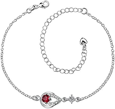 Duan Fashion Jewelry Women s 925 Sterling Silver Cute Drop Shaped Ruby Diamond Anklet AAA Cubic product image