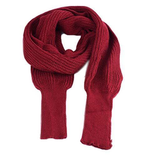 YOYOHO - Manta de Punto de Invierno para Mujer, Chal Largo con Mangas, Bufanda de suéter de Color sólido, Rojo Vino