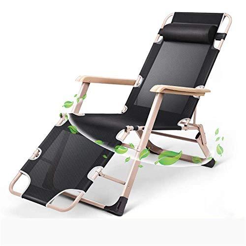 Lettini da Sole Lounge reclinabili Pieghevoli Regolabili per Lato Piscina Giardino Esterno Spiaggia Giardino Campeggio all'aperto (Colore: Nero, Taglia: Taglia Unica)
