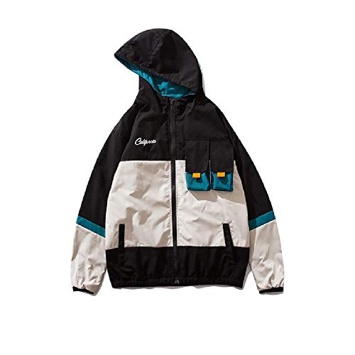 YUESJX Harajuku Hip Hop Japanische Herren Jacken Mäntel Windschutz Streetwear viele Taschen Kapuze Mantel Cargo Jacken Mäntel Gr. L, Schwarz