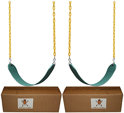 Jungle Gym Kingdom 2 Pack Swings Seats Heavy Duty 66' Chain Plastic Coated - Playground Swing Set Accessories Replacement Snap Hooks (Green)