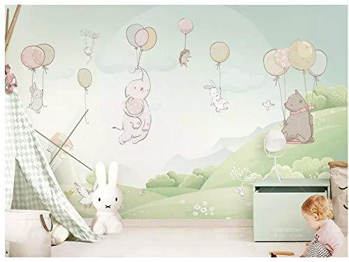 Fototapeten Wand Tapete SchlafzimmerFrisch Und Niedlich Cartoon Ballon Bär Baby Elefant Tier Zimmer Hintergrund Wand, 250Cmx175Cm (98.4 Von 68.9 In)