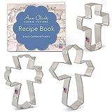 Ann Clark Cookie Cutters Juego de 3 cortadores de galletas cruz con libro de recetas, cruz cristiana, cruz extragrande y cruz elegante - Acero fabricado en EE.UU.