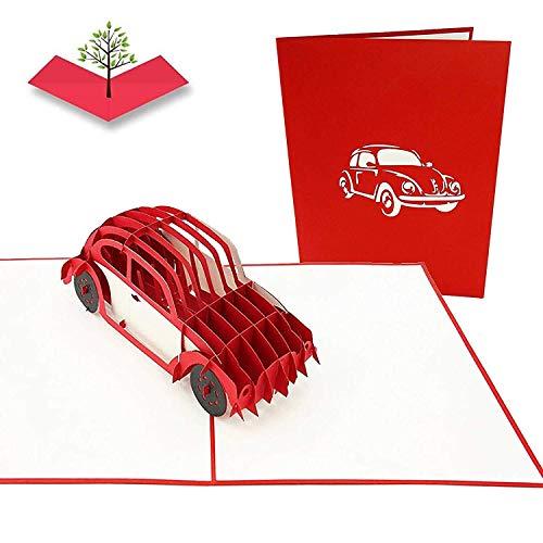 PopLife Cards Tarjeta de felicitación del día de padres del error de VW bug para todas las ocasiones el día de padre, feliz cumpleaños, retiro, aniversario del trabajo, coche cobrable