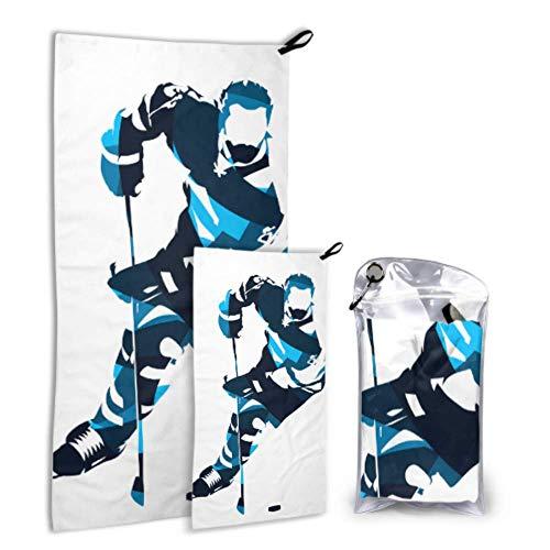 N\A Eishockey Hockey Enthusiast 2 Pack Mikrofaser Haar Handtuch Strandtuch Für Mädchen Set Schnell Trocknend Beste Für Gym Reise Rucksack Yoga Fitnes