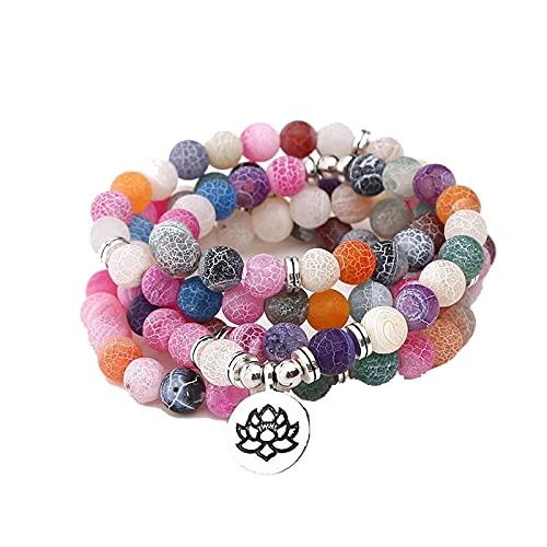 108 Pulseras de cuentas de Mala para Yoga Chakra Crack Pulsera de piedra natural Collar Mujeres Hombres Joyería natural