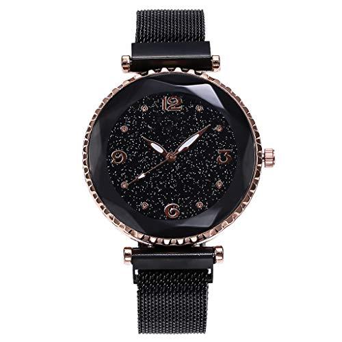 Mire la muñeca Femenina Cinturón de Malla Reloj Escala Digital Imán Hebilla Relojes de Cuarzo Redondo Femenino Reloj Personalidad de la niña Reloj Novia Día de San Valentín,Black