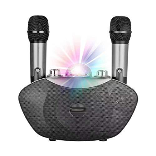 Micrófono inalámbrico Altavoz Bluetooth Familia al aire libre Karaoke Estéreo Mic con LED Flash Neon Light Playing Music Family KTV (Color: Rojo) mei (Color : Silver)