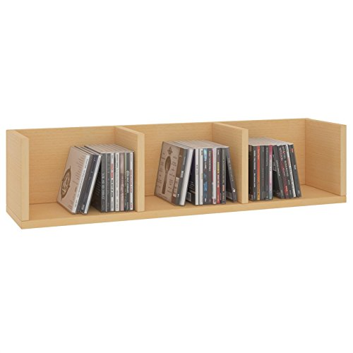 CARO-Möbel CD DVD Regal Stars Wandregal Hängeregal mit 3 Ablagefächern in buchefarben, Dekorationsregal