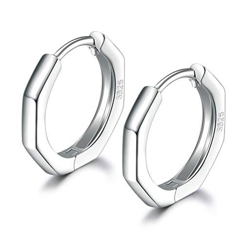 Silver Hoops Earrings for Women, 925 Sterling Silver Post Small Silver Hoop Earrings, 14 White Gold Plated Cuff Earrings for Girls Men Gifts