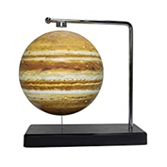 The Floating Jupiter has a solid base and floats through use of magnets The Floating Jupiter displays the geological features on the lunnar surface Magnets hold the Floating Moon in position and allow it to spin.